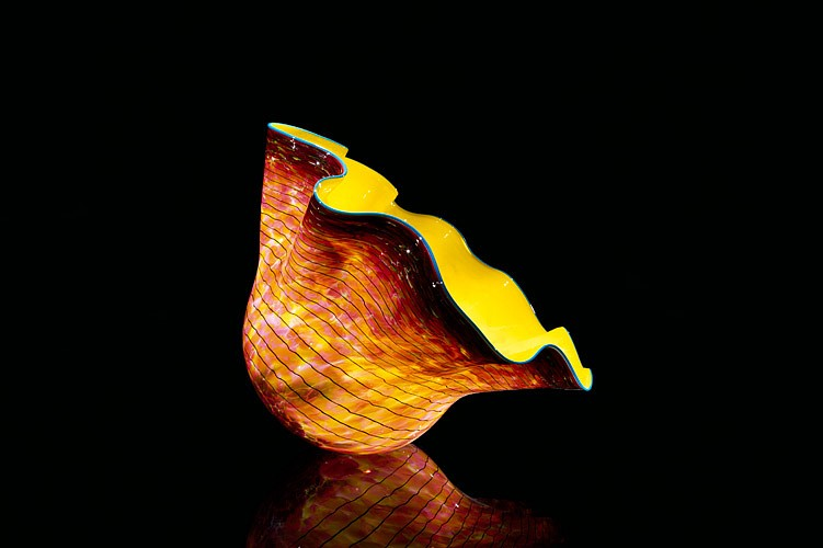 Dale Chihuly, Golden Yellow Macchia with Turquoise Blue Lip Wrap 1995, Glass